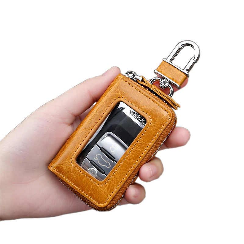 Erkek deri retro araba anahtar çantası deri moda fermuar anahtar cüzdan tüp ev klip yeni unisex anahtar çantası bayanlar