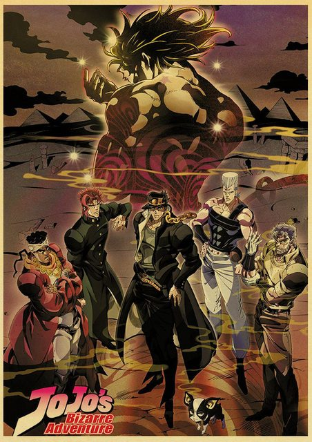 Japanese Anime JoJo's Bizarre Adventure Poster Wall Art Canvas Painting Watercolor Prints Home Decor Pictures Living Room Decor 2