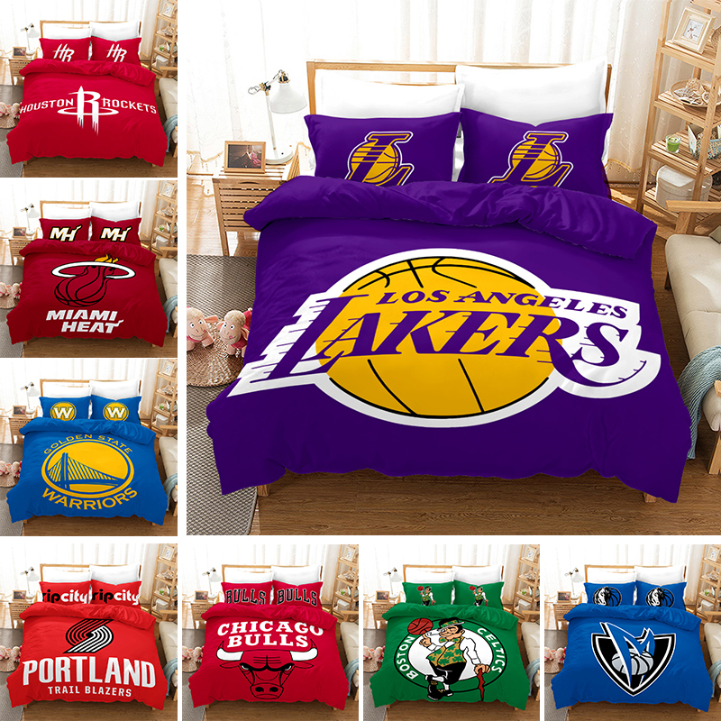 Home Textile 3D Basketball Club Bedding Set Quilt Duvet Cover Pillowcases Sport Bed Linens Twin Full Queen King Size 2-3PCS
