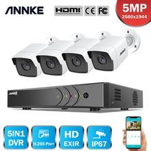 Annke H.265 + 5MP Lite Ultra Hd 8CH Dvr Cctv Security System 4 Stuks 5MP IP67 Weaterproof Outdoor 5MP Camera video Surveillance Kit