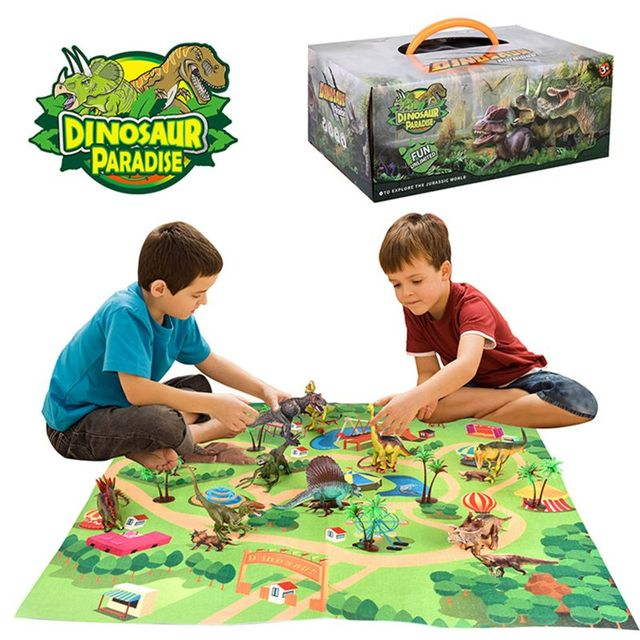 Dinosaur Toy Figure w/ Activity Play Mat & Trees, Educational Realistic Dinosaur Playset to Create a Dino World Including T Rex,