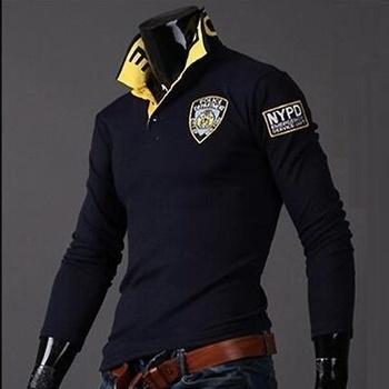 Marka zogaa nowe męskie koszulki Polo z długim rękawem mężczyźni Polo stałe litery 3D hafty koszulki Polo męskie Casual slim z klapą Polo topy tanie i dobre opinie Pełna Na co dzień Szczupła None Other COTTON Oddychająca 1607-931
