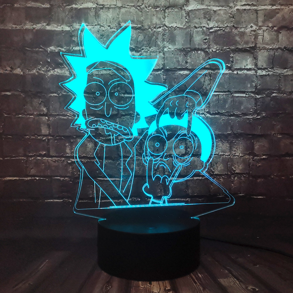 Rick And Morty Light Cartoon Acrylic 3D Optical  Illusion Led 7 Color Change Night Lamp For Bedroom Holiday Kids Birthday Gift