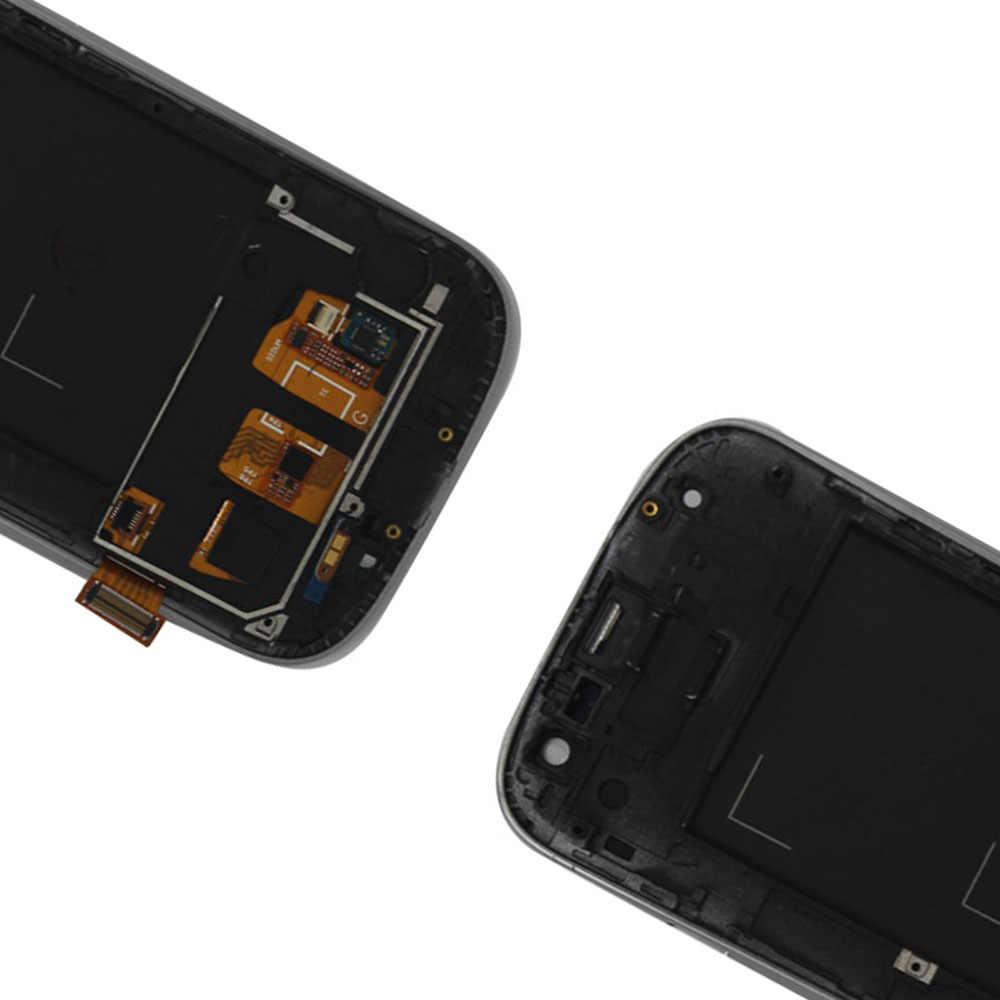 Highscreen لسامسونج غالاكسي S3 i9300 S III شاشة الكريستال السائل S3 اللمس شاشة النسيجة محول الأرقام الجمعية استبدال أجزاء + الإطار الحافة