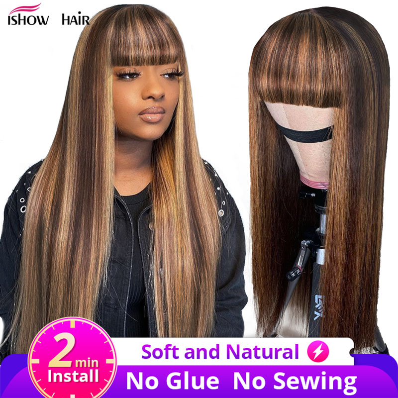 Ishow Highlight Wig With Bangs Guleless Straight Human Hair Wigs With Bangs Colored 99J Red Wig Full Machine Made Fringe Wig