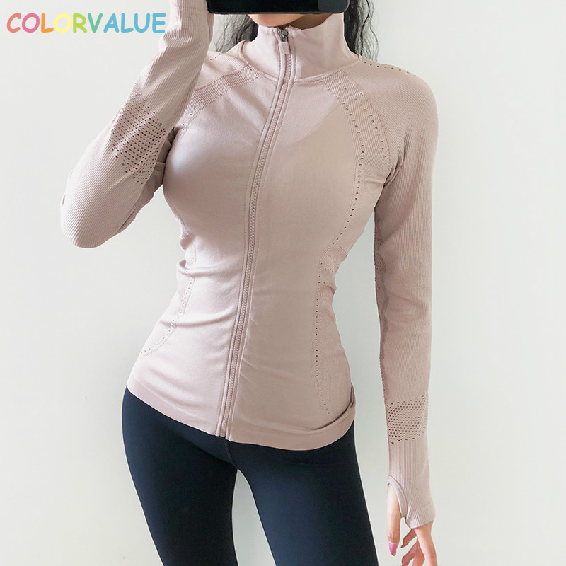 Colorvalue Full Zipper Hollow Out Running Sport Gym Jackets Women Slim Fit Seamless Fitness Yoga Workout Coat With Thumb Holes