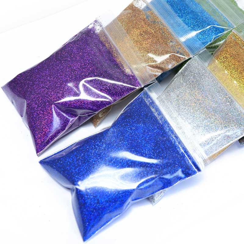50g/bag Holographic Nail Powder Shimmer Glitter for Nail Art DIY Decorations Silver Gold UV Gel Varnish Nail Tips Pigment Dust