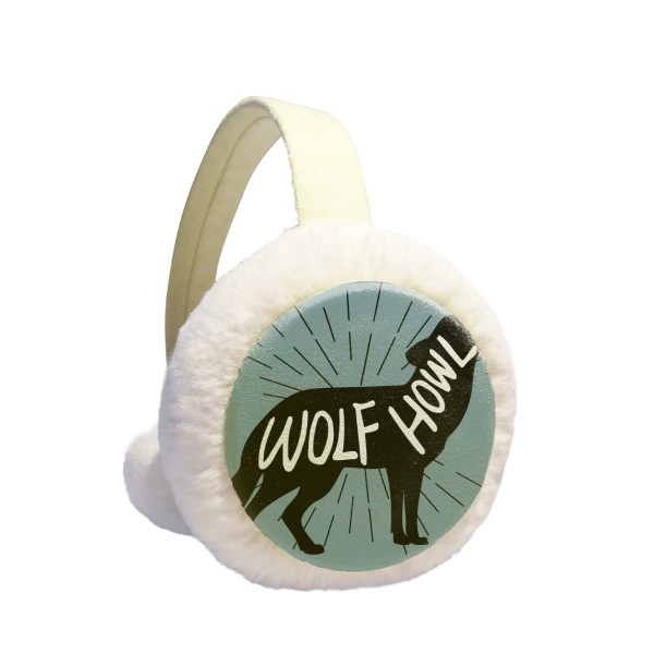 Black Wolf Animal Silhouette Natural Winter Earmuffs Ear Warmers Faux Fur Foldable Plush Outdoor Gift