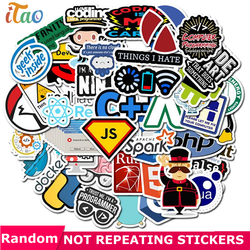 10/20/30/40/50PCS Programming Geek Java Stickers Waterproof PVC Skateboard Snowboard Luggage Guitar Car Laptop Kids Toys Sticker
