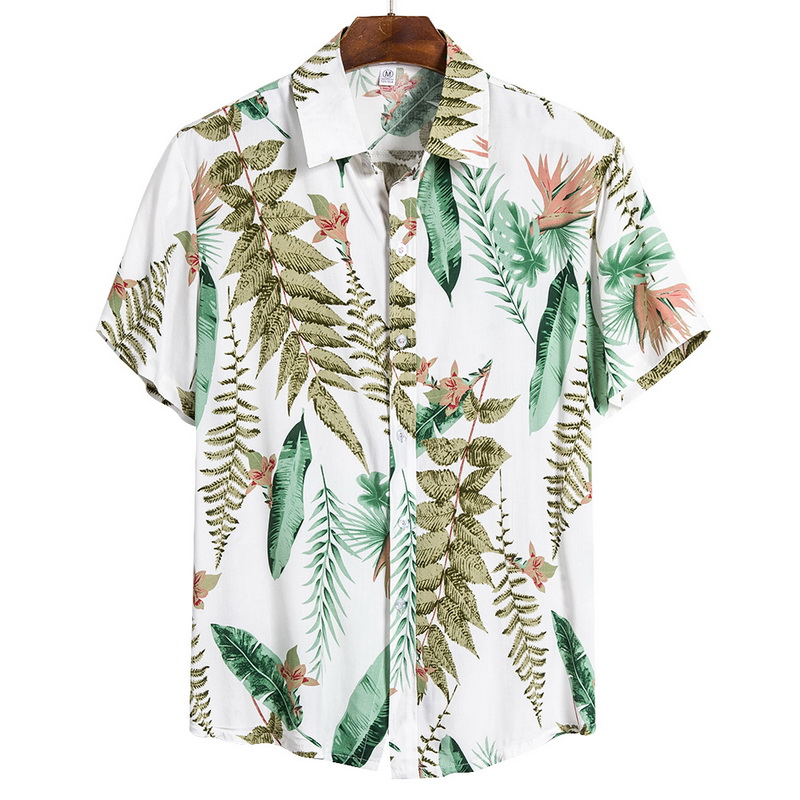 2021 New Arrival Men's Shirts Men Hawaiian Camicias Casual One Button Wild Shirts Printed Short-sleeve Blouses Tops 5