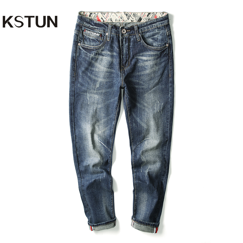 Top Quality Hot Sale Fashion Brand Men Jeans Straight Autumn 2019 Retro Blue Printed Pockets Jeans Men Ripped Jeans High Quality