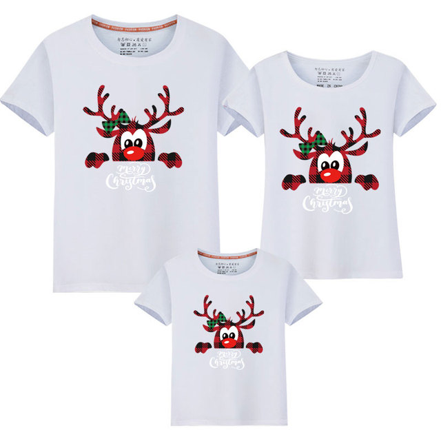 2020 Xmas Matching Family Outfits New Christmas Deer Dad Mom Kids Mother Daughter Short Sleeve Matching Family Look T Shirts