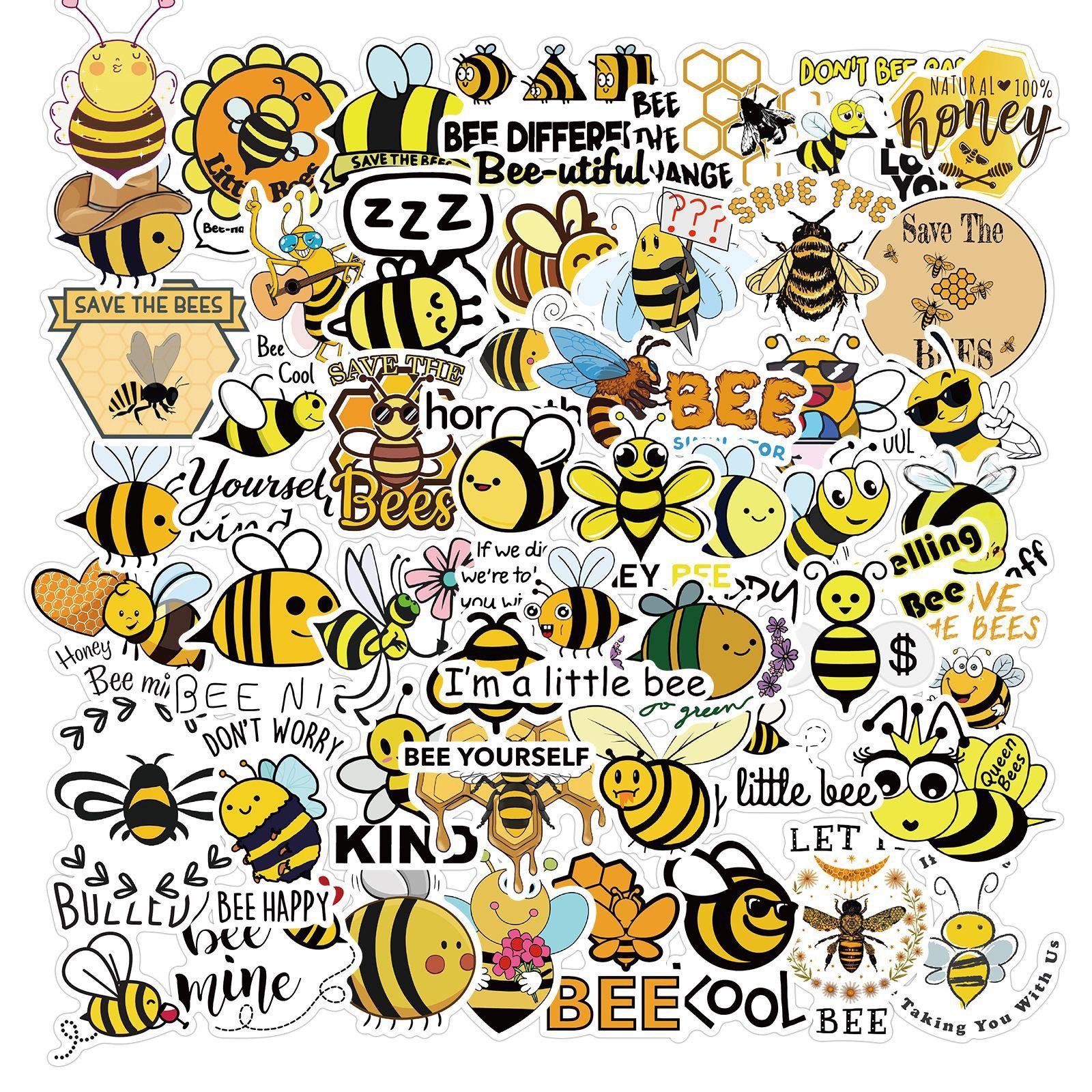 10/50 adet Lnspirational küçük arı etiket paketi sevimli karikatür böcek bal arısı süslü çıkartmalar To buzdolabı kayak bisiklet motosiklet araba