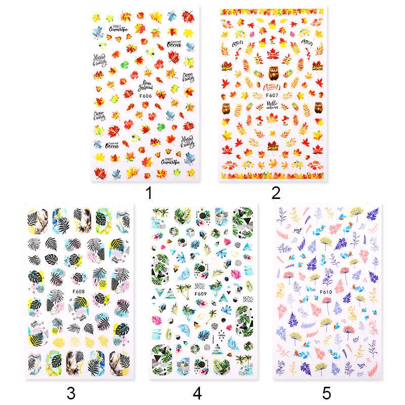 1 Lembar Stiker Kuku Bunga Daun Slider Transfer Kuku Stiker untuk Manicur Nail Art DIY Transfer Stiker Kuku Seni Dekorasi