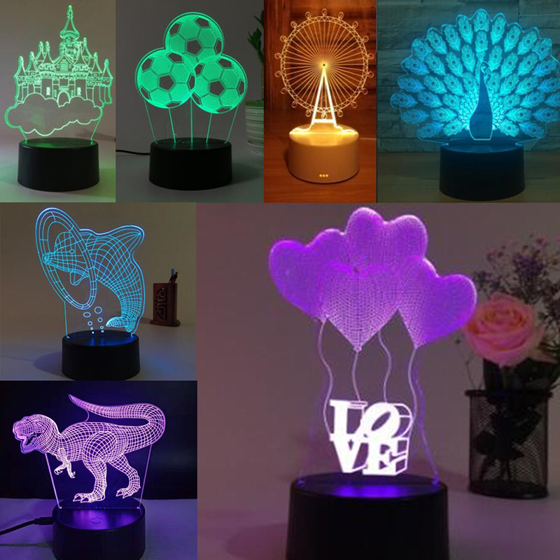 New 3D Illusion Lamp RGB LED Night Light Acrylic Panel For Kids Cartoon Gifts 1PCS