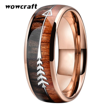 8mm Rose Gold Wedding Bands Tungsten Rings for Women Koa Wood Steel Arrow Inlay Domed Polished Shiny Comfort Fit tailor made luxury western rose gold color inlay health surgical stainless steel wedding bands rings sets