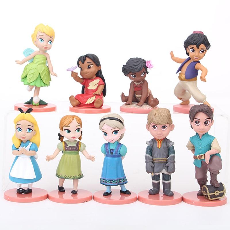 Disney Princess Toys 9pcs 5-8cm Frozen Elsa Anna Kristoff Moana Fairy Action Figure Dolls Kids Toys For Children Gift