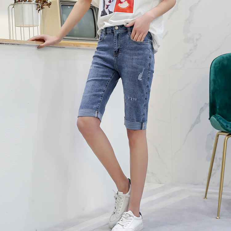 Spring And Summer New Style Korean-style Elasticity Plus-sized Jeans Plus-sized Womenswear Size High-waisted 5 Pants Versatile S