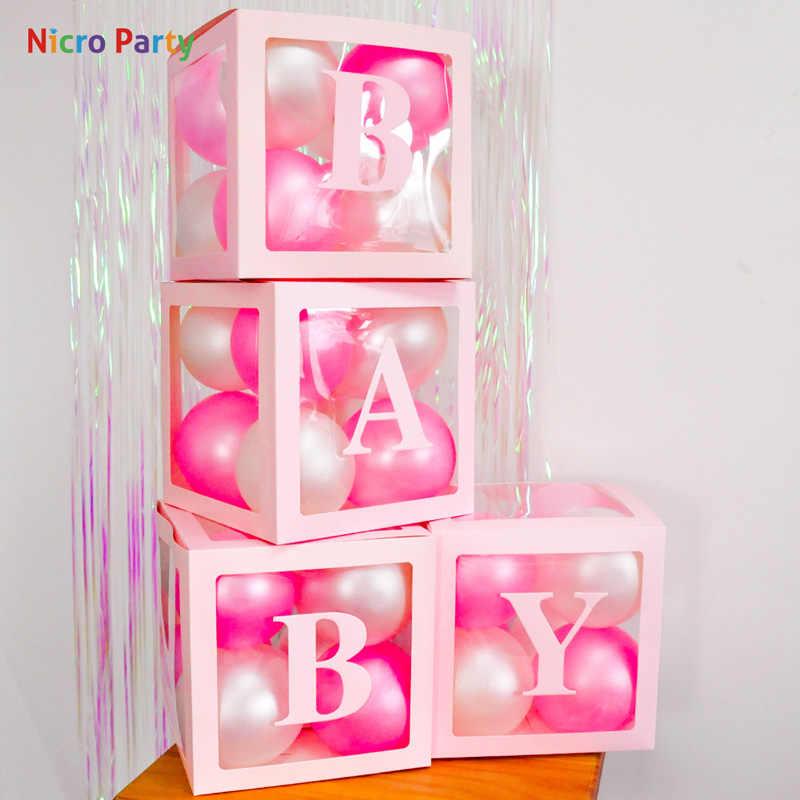 Nicro alfabeto transparente cor-de-rosa caixa de embalagem nome balão caixa de letra diy chá de fraldas amor decoração da festa de aniversário do casamento # bal121