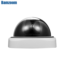 Smart Indoor/Outdoor Dummy Surveillance Camera Home Dome Waterproof Fake CCTV Security Camera with Flashing Red LED Lights
