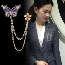 Korean Butterfly Flower Brooch Rhinestone Crystal Tassel Chain Lapel Pin Suit Coat badge Collar Pins Jewelry Women Accessories(China)