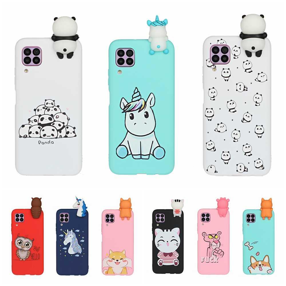 Coque de téléphone en Silicone pour femmes, compatible Huawei P40 Lite, Kawaii, 3D, licorne, Panda, DIY