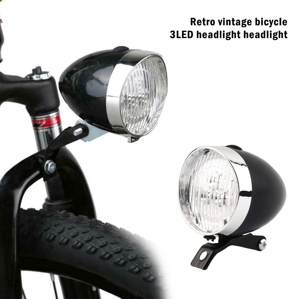 New Bicycle 3 LED Front Light Headlight Vintage Mountain Flashlight Lamp Retro