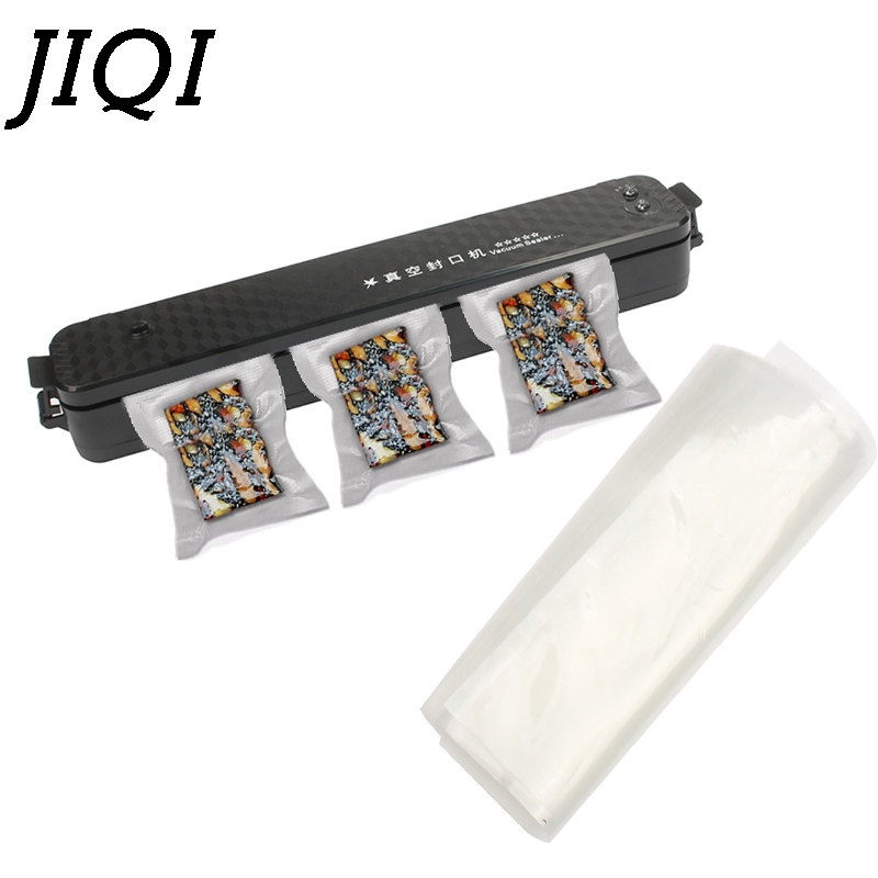 JIQI Electric Vacuum Sealer Wet&Dry Mini Packaging Machine Food Saver Sausage Coffee Air Sealing Packer 10Pcs Film Storage Bags