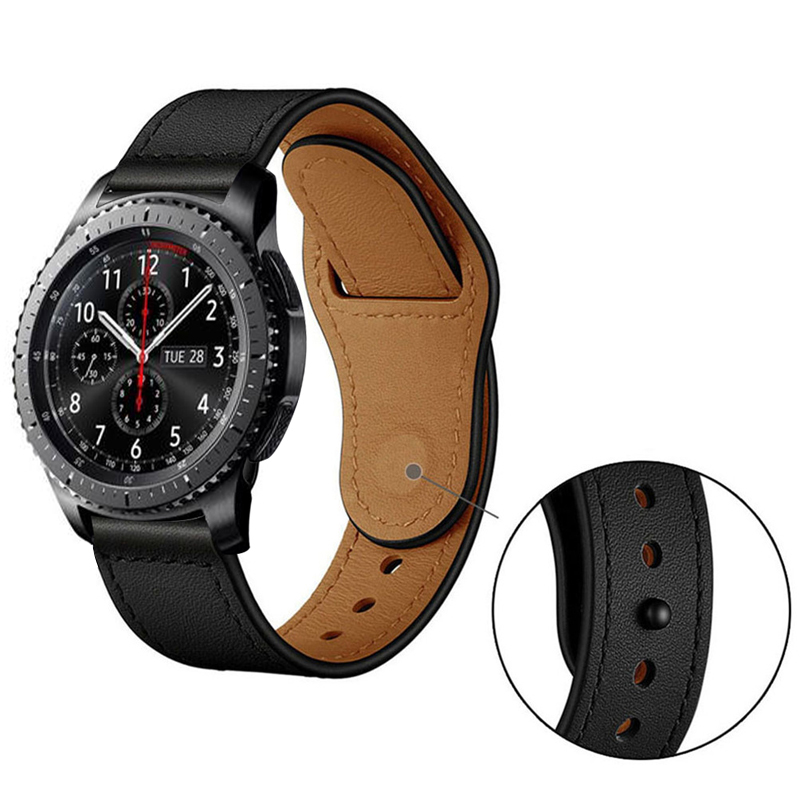 20/22mm Strap For Samsung Galaxy Watch S3 Frontier 46mm 42mm Active 2 Huawei Watch Gt 2 Amazfit Bip Band Real Leather Bracelet