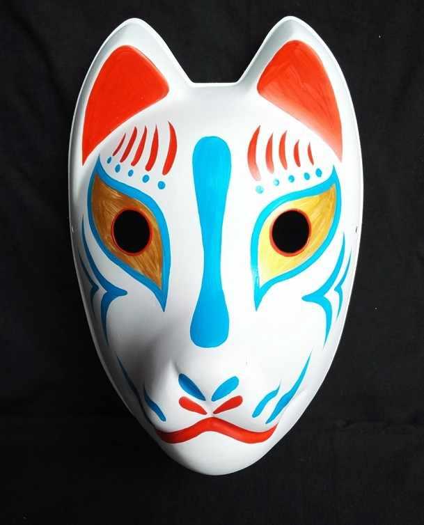 1 Pcs Jepang Yang Dilukis dengan Tangan Penuh Wajah Fox Masker Halloween Cosplay Masquerade Kostum Aksesoris Pesta Acara Unisex Hadiah Natal