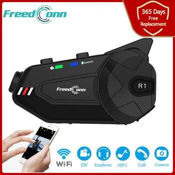 Freedconn R1 Plus Motorcycle Group Intercom Waterproof HD Lens 1080P Video 6 Riders Bluetooth Wifi Helmet Interphone Recorder