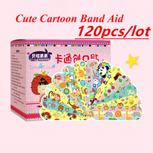 120PCS Cartoon Bandage Waterproof Wound Adhesive Bandages Cute Dustproof Breathable First Aid Medical Treatment For Children 6pcs pack 1x5yards color elastic self adhesive non woven bandages cohesive wrap bandages tapes for emergency wound treatment