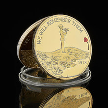 1918 We Will Remember Them Elizabeth II Colored Gold Plated Souvenir Token Coin