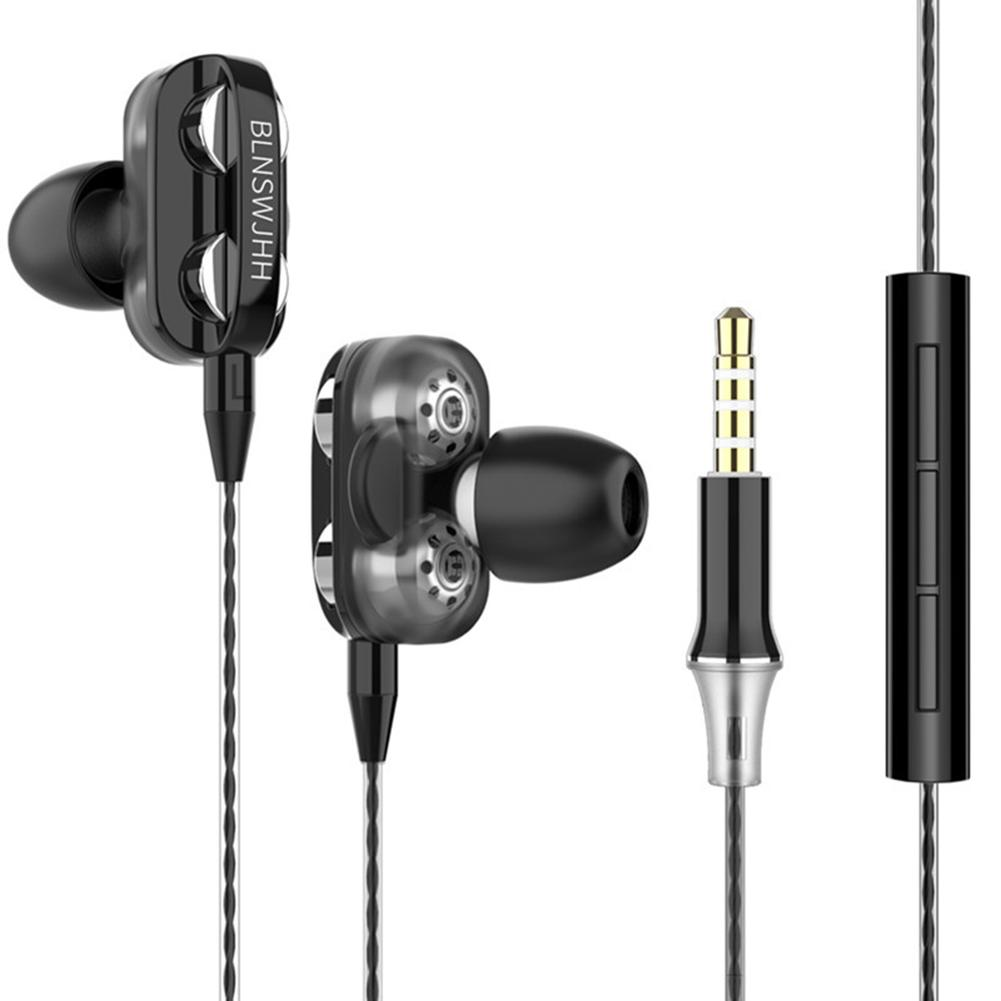 Sports Earphones Dual Drivers 4 Units Heavy Bass HiFi Music Earpiece Universal 3.5mm In-ear Wired Earphones
