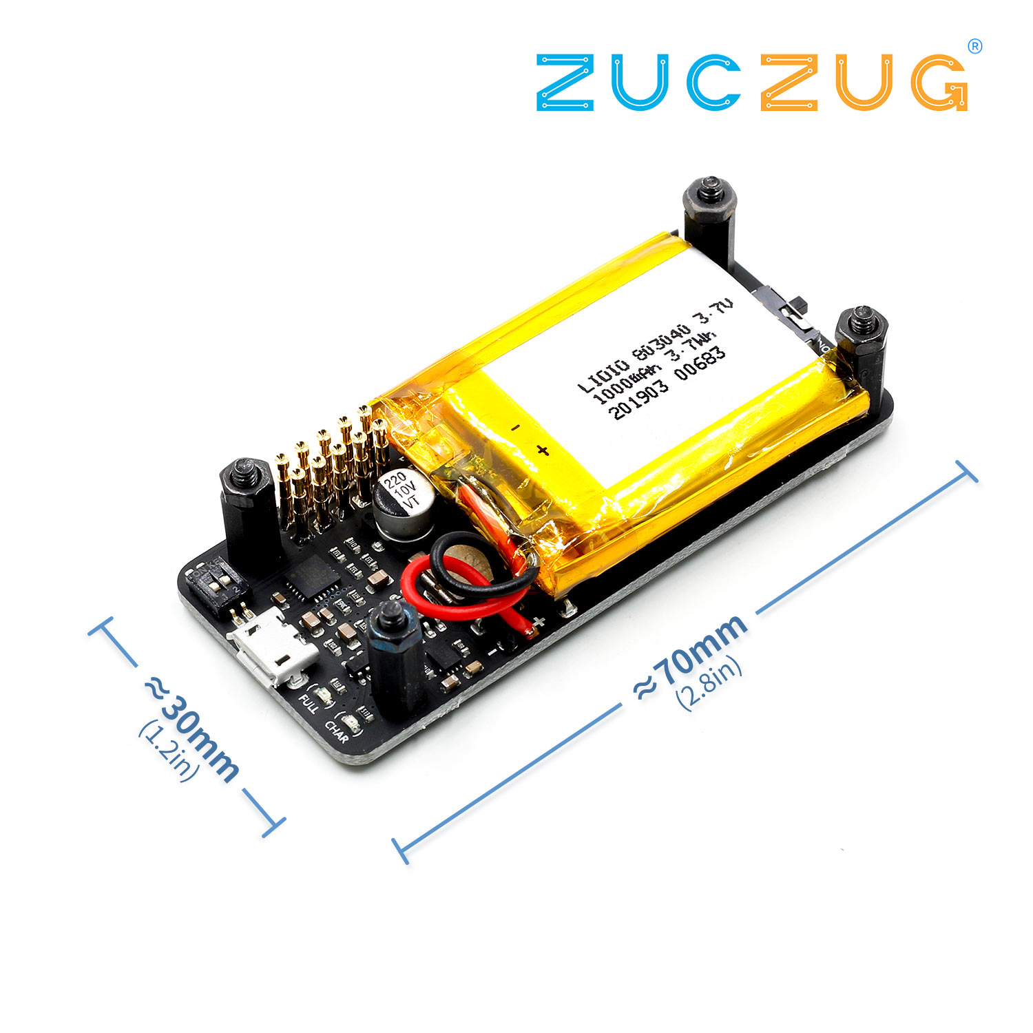 Raspberry Pi Zero 0 W UPS Power Board, Integrated Serial Port, Power Detection