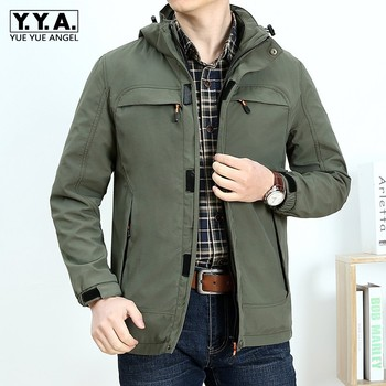 Army Green Jacket Men Plus Size Loose Hat Detachable Zipper Casual Outerwear Brand Winter Warm Long Sleeve Mlitary Army Jacket