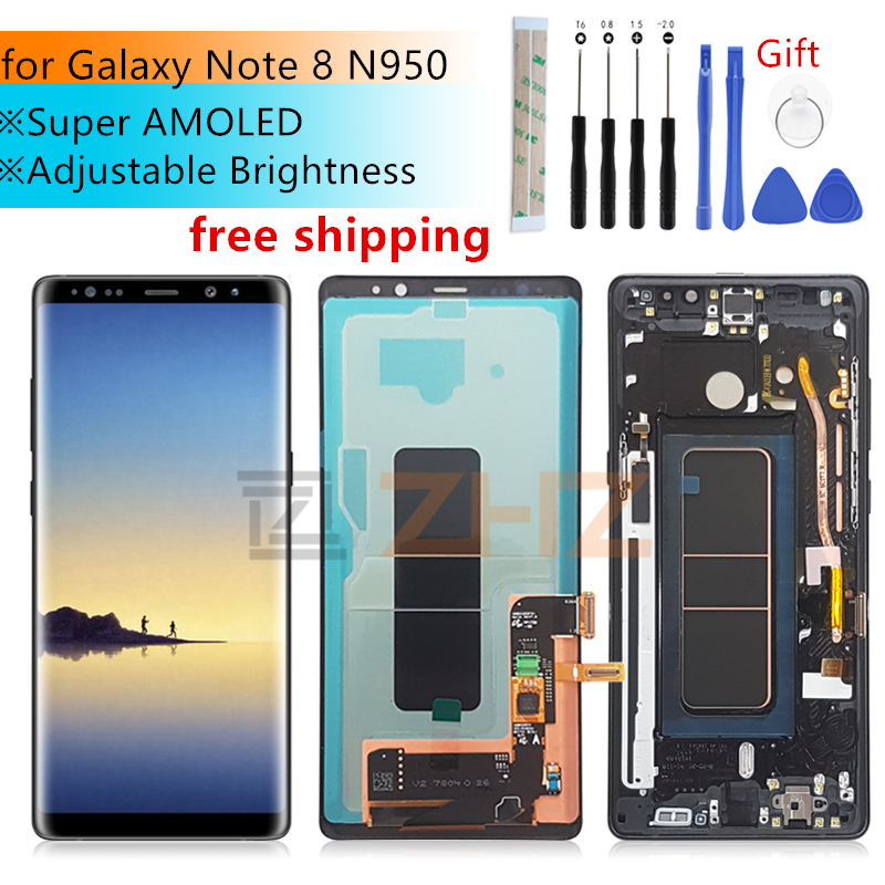 Super Amoled for Samsung Galaxy Note 8 lcd display touch screen Digitizer Assembly N950 N950F + Frame replacement repair parts