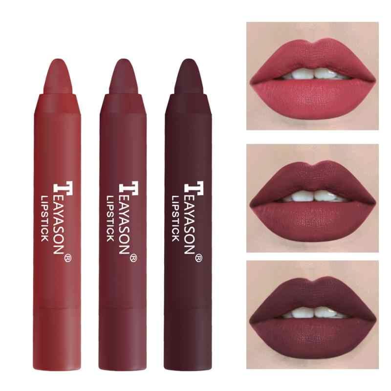 TEAYASON 3 pièce/ensemble mat velours rouge à lèvres stylo sans décoloration nu brouillard lèvre Stick imperméable Durable haute pigmenté lèvre maquillage bâton TSLM1