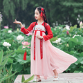 Vestido tradicional chinês para o miúdo hanfu menina de fadas vestido da princesa tang terno estilo chinês elegante traje ming oera
