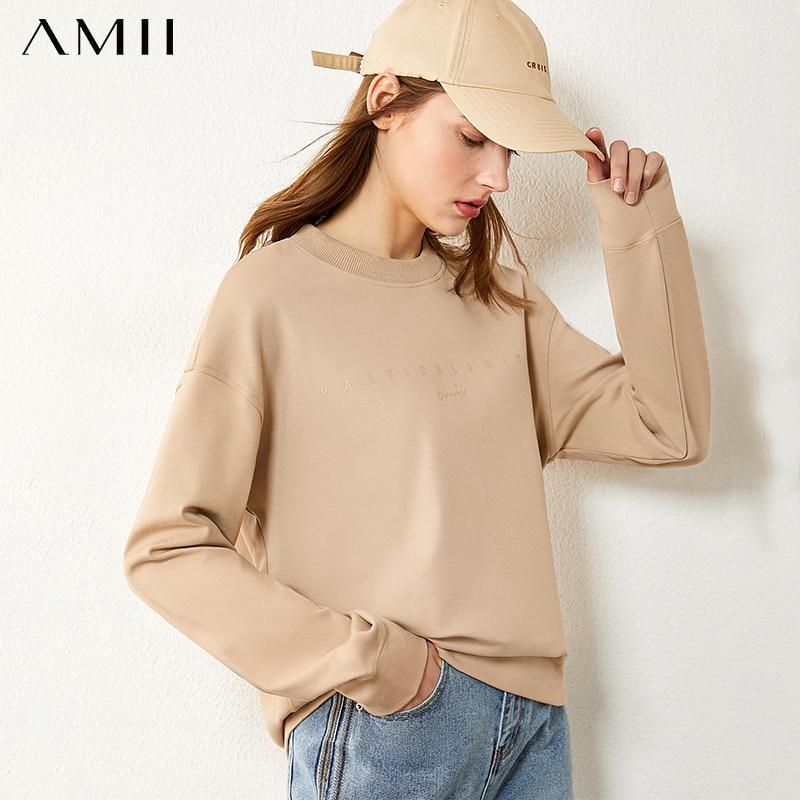 Amii Minimalism Winter Hoodies For Women Fashion Letter Embroidery Fleece Thick Sweatshirt Women Pullover Tops  12060096 1