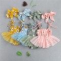 4 Цвета милый малыш новорожденный младенец, комплект летней одежды для девочек из хлопка и льна с цветочным принтом повязка, боди, платье с ф...
