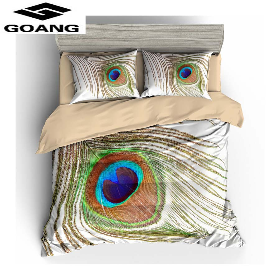 GOANG 3d digital printing peacock eye bed sheet duvet cover and pillowcase luxury home textiles 3d bedding sets