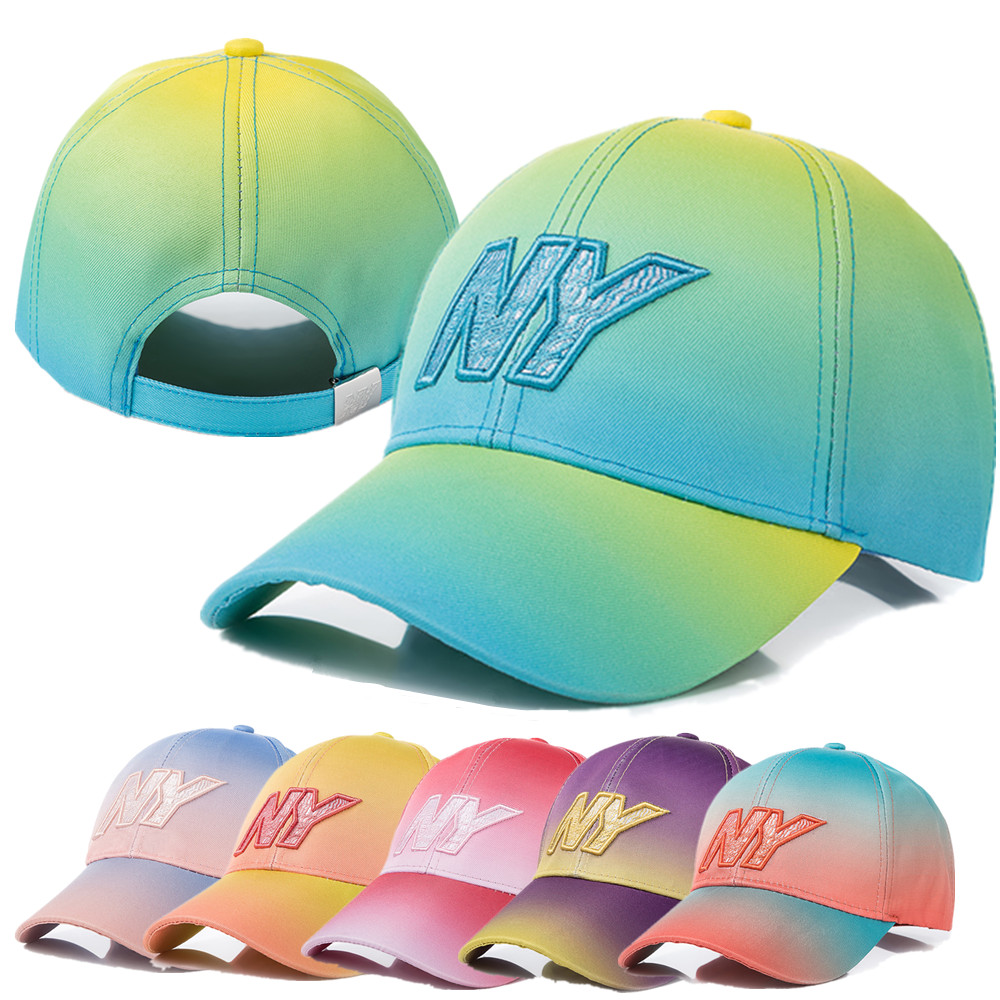 New Women Tie Dye Cap Fashion NY Letter Embroidered Baseball Cap Dazzling Female Casual Adjustable Outdoor High Quality Hat Cap image