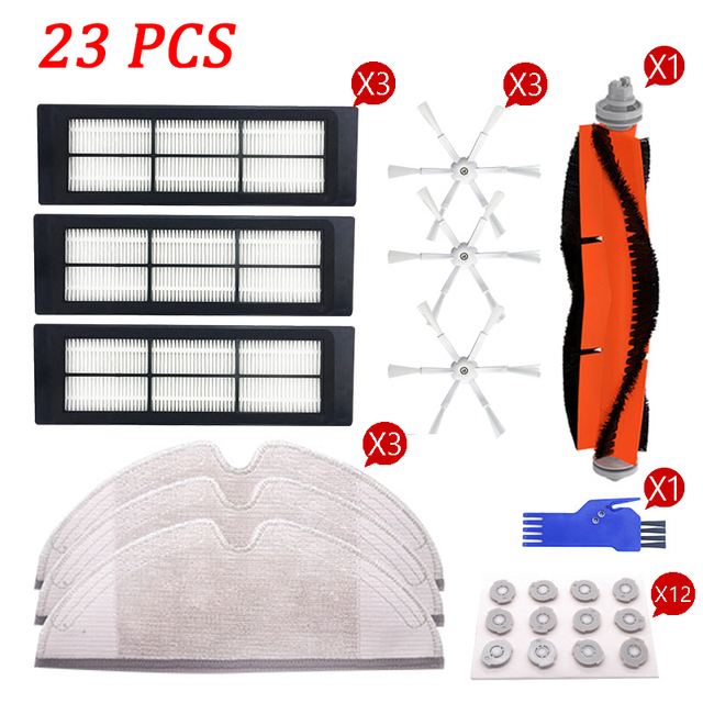 Main Brush+6 Arm Side Brush+Washable Hepa Filter+Mop Cloth for Xiaomi Roborock S50 S51 S55 S5 Robot Vacuum Cleaner Parts