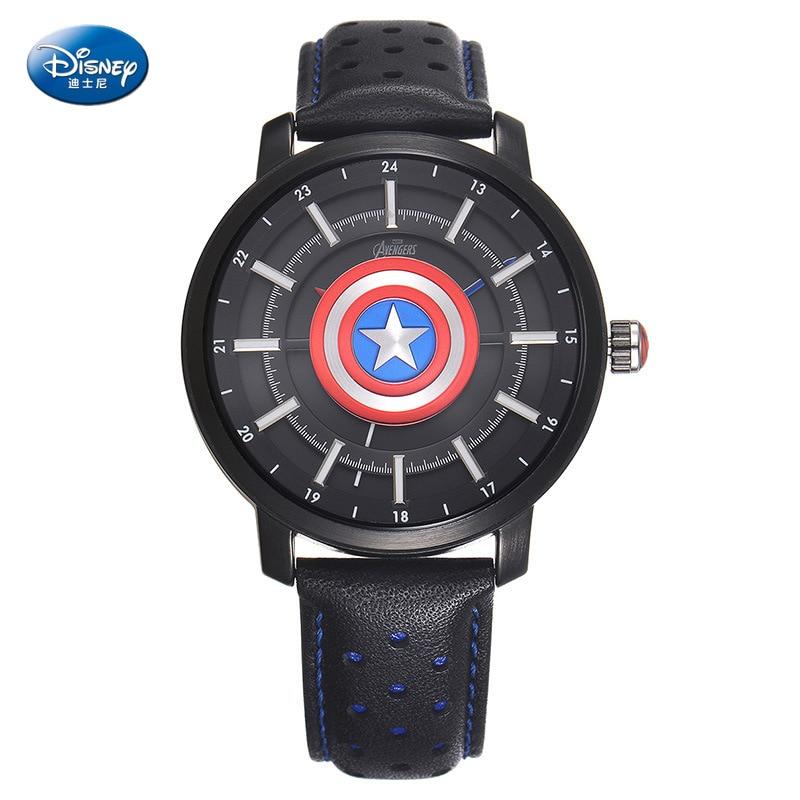 Relógio à Prova de Água Disney Avenger Aliança Capitão Americano Escudo Relógio Legal Menino Simples Couro 3bar Fivela