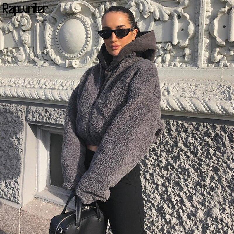 Rapwriter Winter Fashion Turtleneck Long Sleeve Gray Teddy Faux Furry Coat Women 2019 Solid Zipper Autumn Jackets Warm Coats