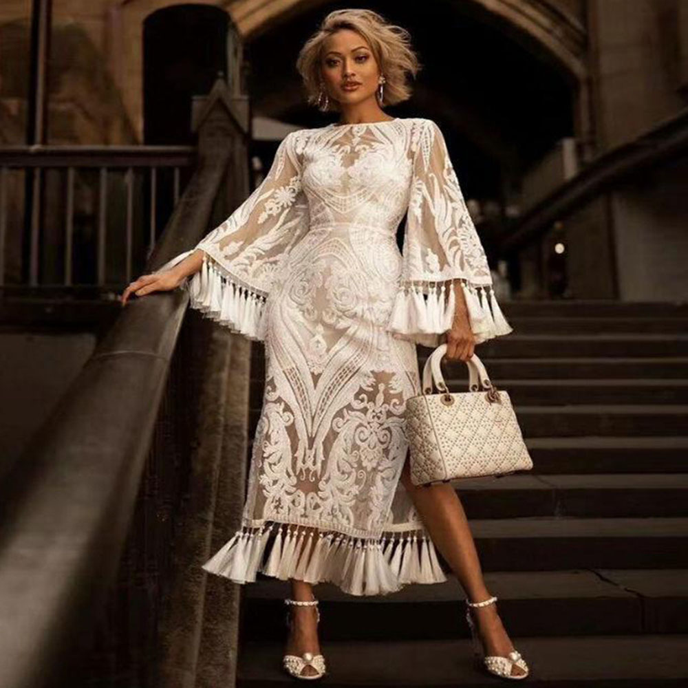 Elegant White Lace Party Dress Women Embroidery Tassel Fringe Sexy Transparent Long Sleeve Wedding Party Formal Cocktail Dress