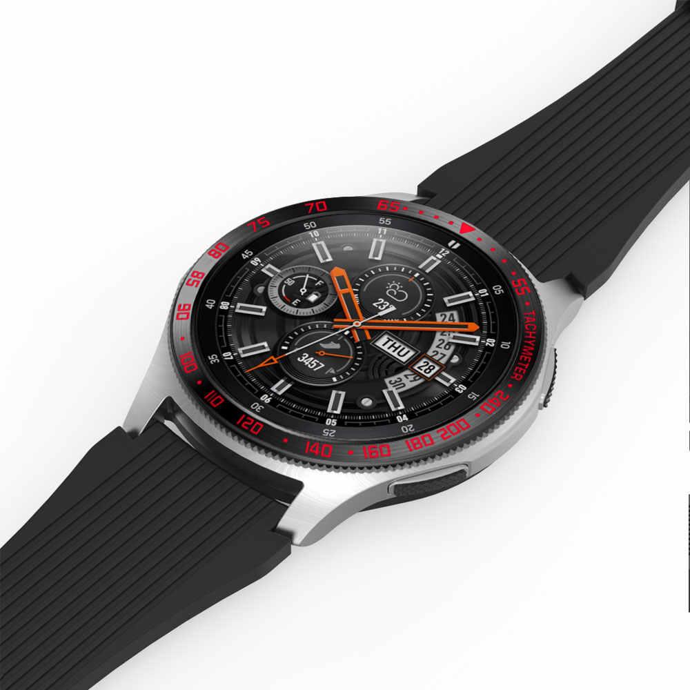 נירוסטה לסמסונג גלקסי 42 46mm SM-R800 הילוך S3 Frontier שעון שעוני יד טבעת לוח דבק כיסוי סריטות שחור