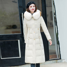 2019 New Winter Women Duck Down Coat Real Fur Hooded Slim Pockets Thick X Long Zipper Solid Jackets Clothes Parka Plus Size стоимость