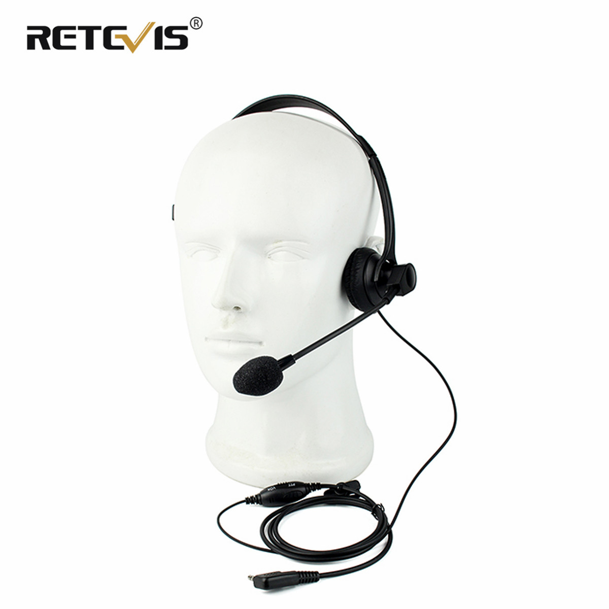 2 PIN VOX PTT Mic Headphone Walkie Talkie Headset For RETEVIS KENWOOD BAOFENG UV5R H555 For WOUXUN PUXING Radio C2202A